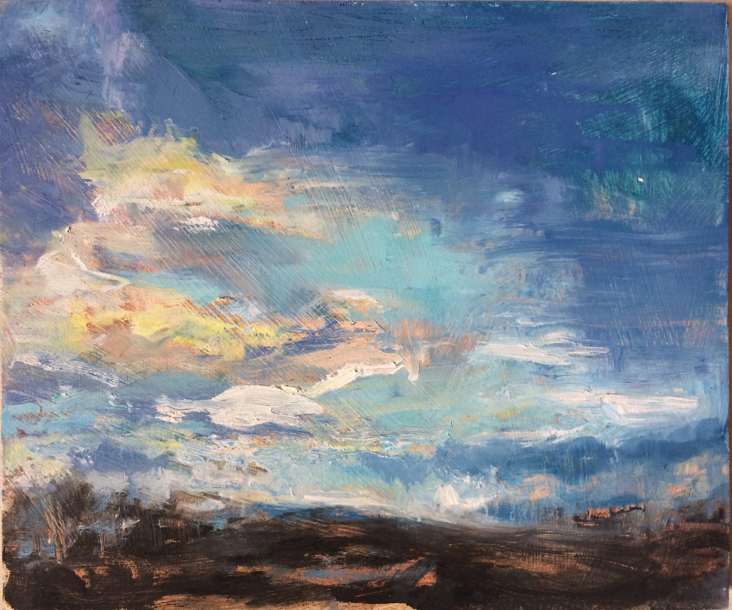 "Cloudy Sky, 2016, oil on panel, 10""x12"""