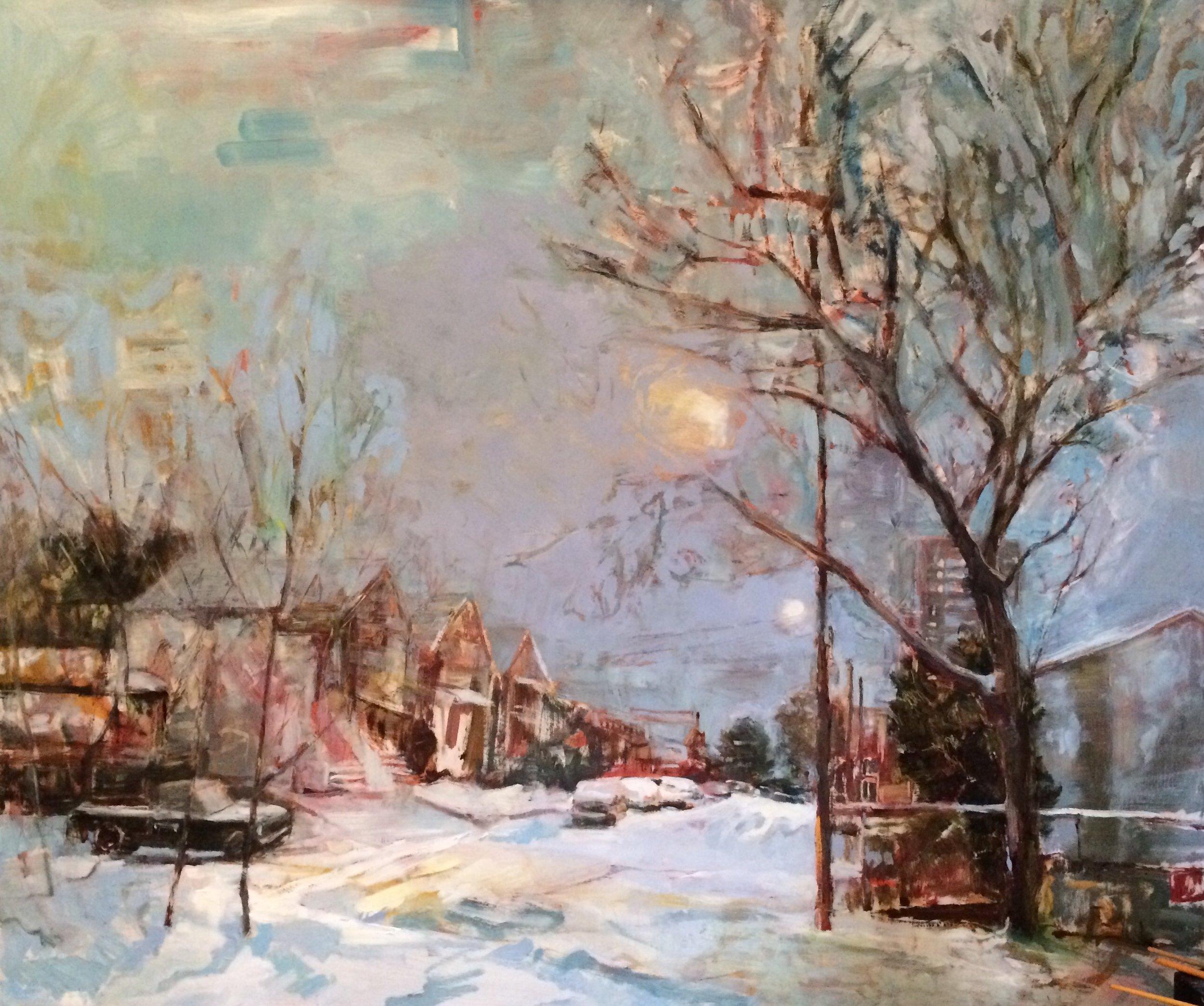 "Sheaffe Street, 2017, oil on panel, 41""x48"""