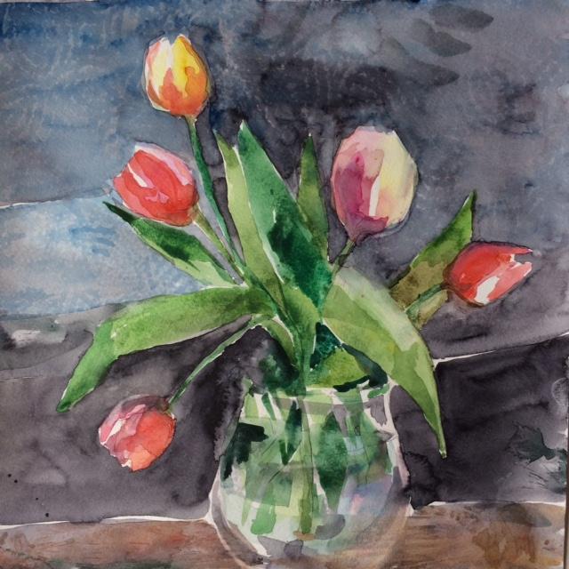 """Tulips on Grey, 2017, w/c, 12""""x12"""""""