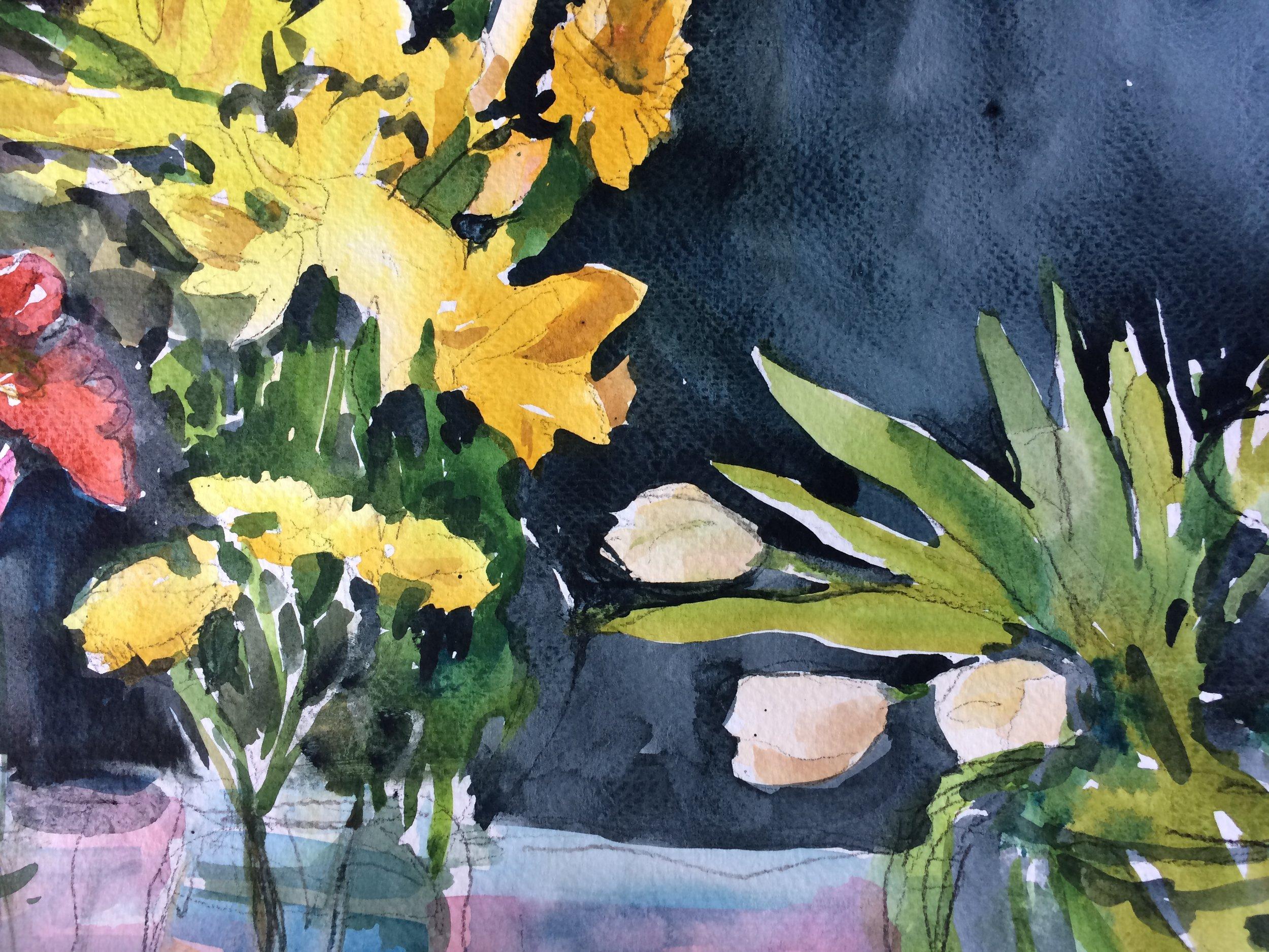 "Three Bouquets, 2017, w/c, 11""x14"""