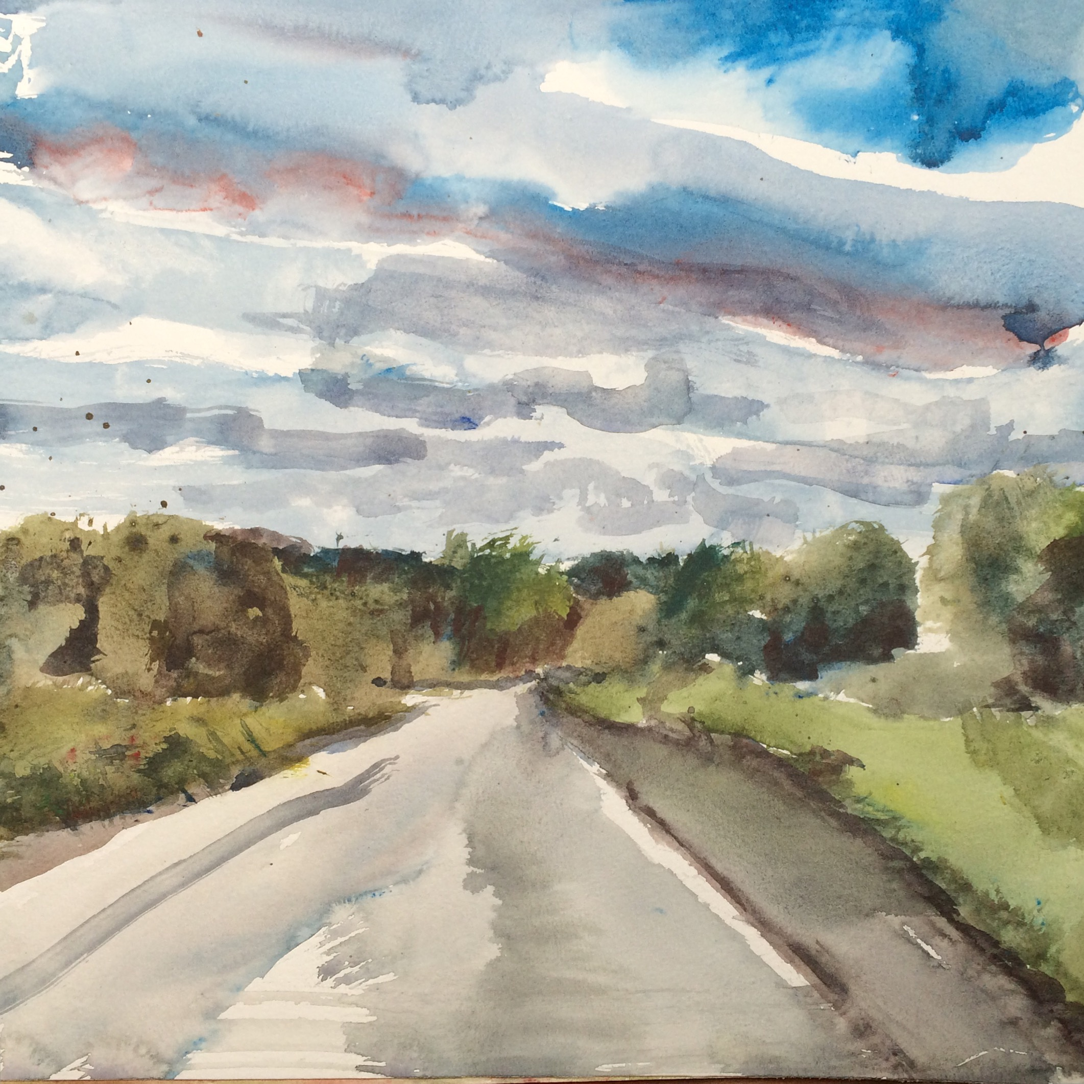 "Road, 2016, w/c, 12""x12"""