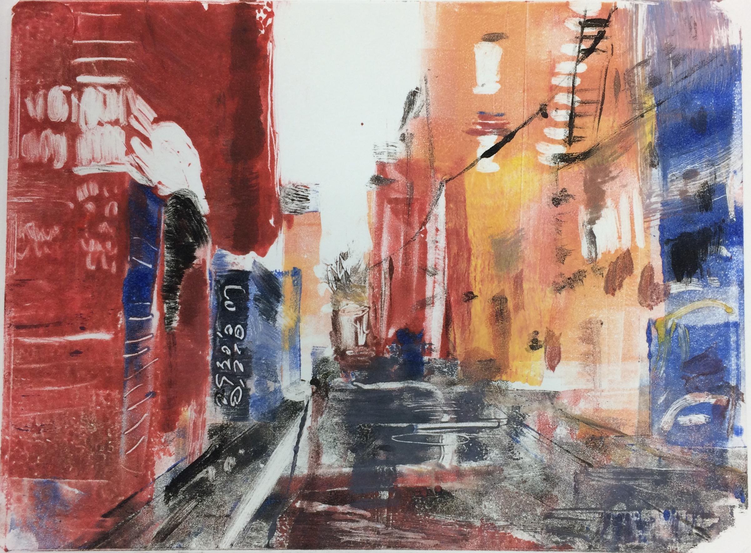 """Alley, Toronto, 2017, monotype, 6"""" x 8"""""""