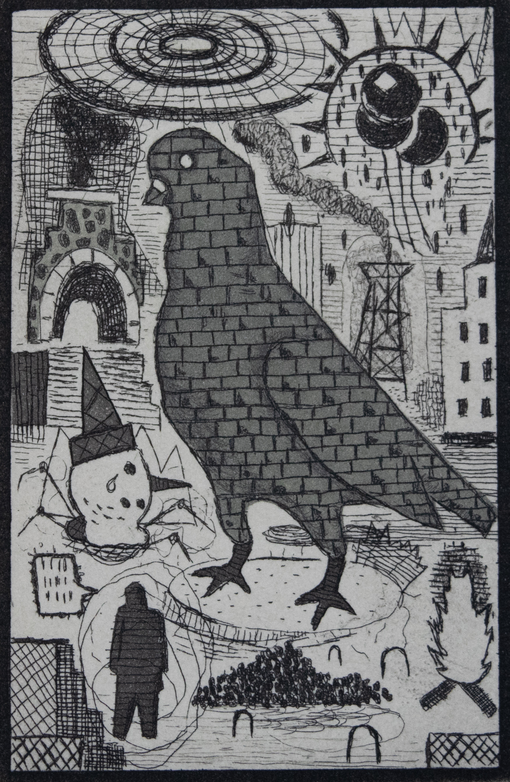 """Tony Fitzpatrick - """"Stone Bird""""  Medium: Etching  Size: 2 x 3 inches (matted 8 x 9 inches)"""