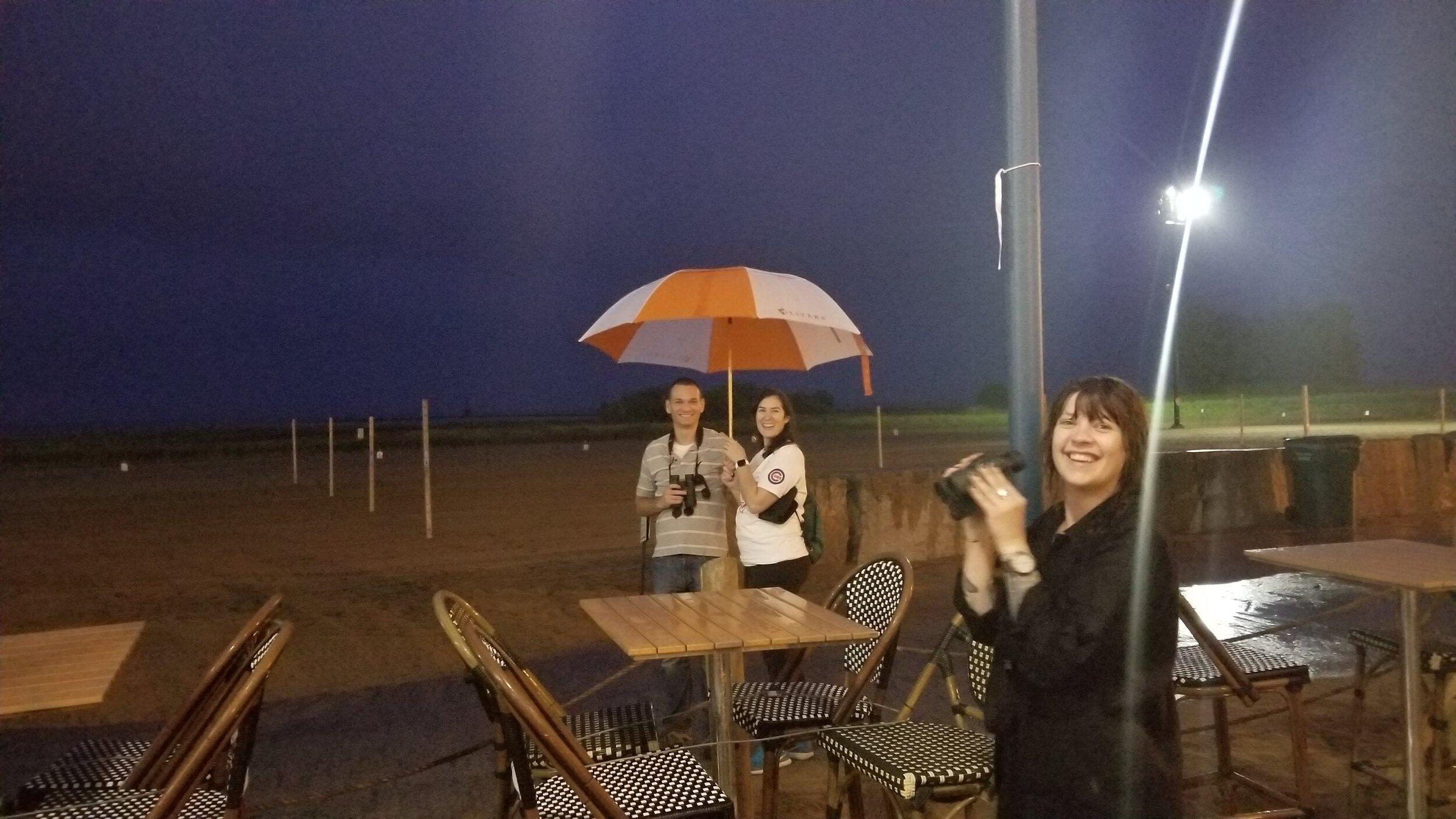 #ploverwatch volunteers keeping watch in spite of rainy skies Photo: Edward Warden