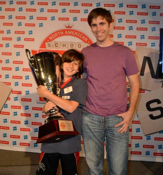 My mentee Zach with his school championship trophy. (Providence, May 2015)