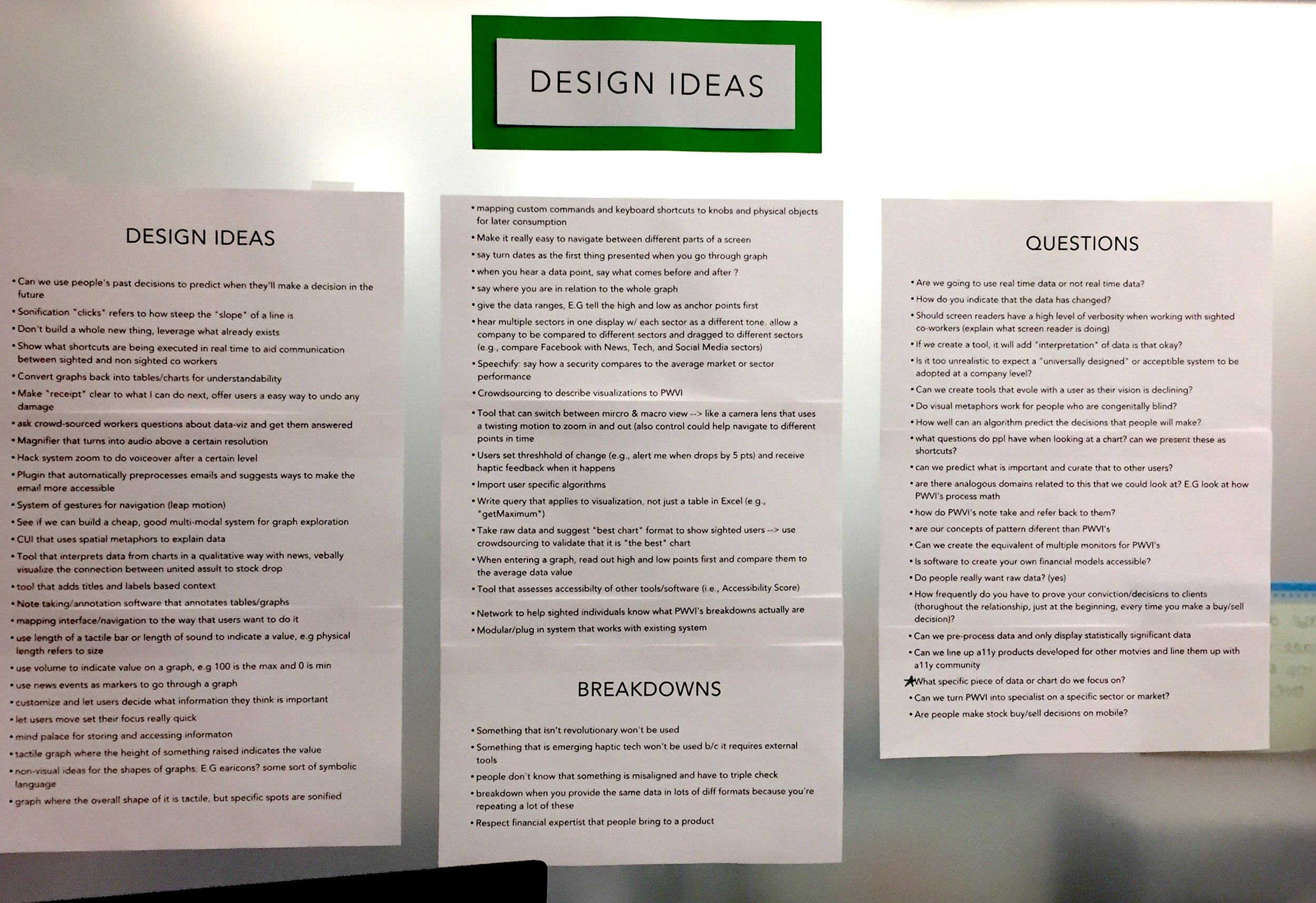 "A list of design ideas generated by ""walking the wall"" of the affinity diagram."