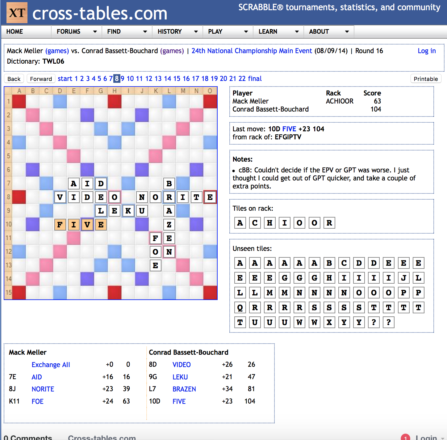 The current interface of cross-tables.com's Scrabble game viewer.
