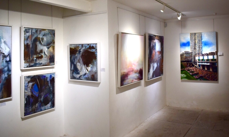 Mine and Judith Brenner's work in the Leyden Gallery, Winter 2017.