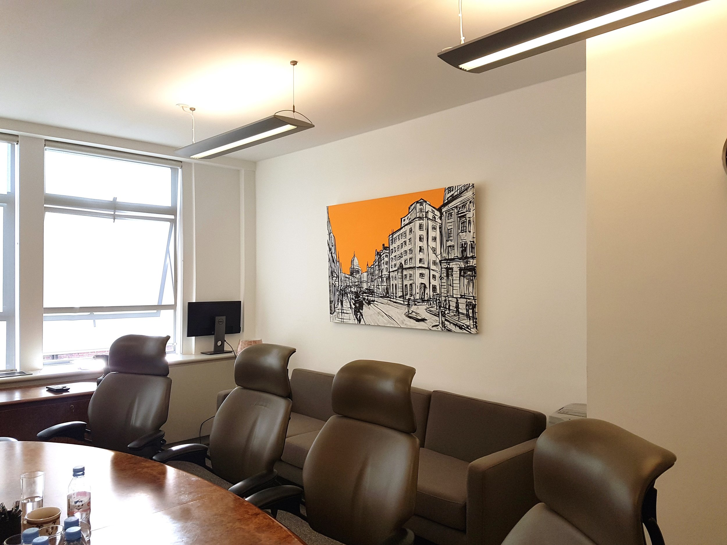 This was a corporate commission, it took two meetings to decide on the style and size of the painting.