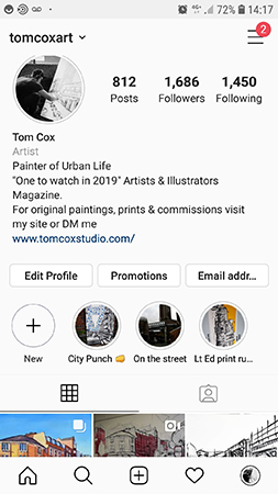 Maintaining a social media presence has been fantastic for promoting my artwork, and informing people about my exhibitions.