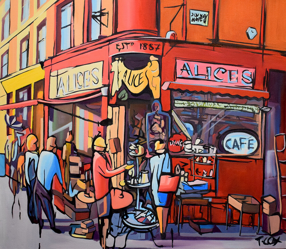 Alice's Portobello, 2019 | Indian ink & oil on canvas | 70 x 80 cm | £2,500