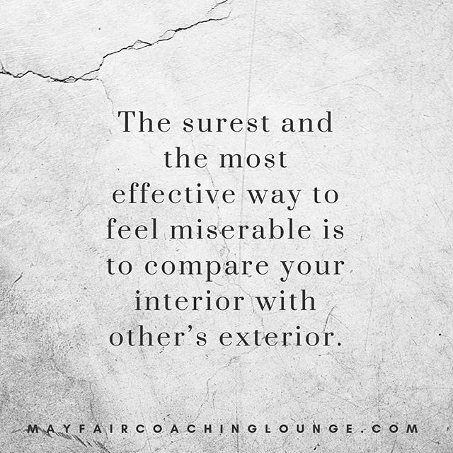 The surest and the most effective way to feel miserable is to compare your interior with other's exterior.  Tag a friend who really needs to see this message today 👇  #anxiety #anxietycoach #socialanxiety #anxietysupport #anxietyproblems #anxietyattacks #anxietycoaching #nomoreanxiety #overcomeanxiety #mindsetiseverything #masteryoflove #masteryourmindset #masteryourmind #emotionalwellbeing #emotionalquotes #emotionalwellness #workplaceanxiety #sadness #impostersyndrome #coaching #mayfairlifecoach #depression #londonlifecoach #selflove #love #selfdevelopment #londongay #selfcare #mayfairlondon