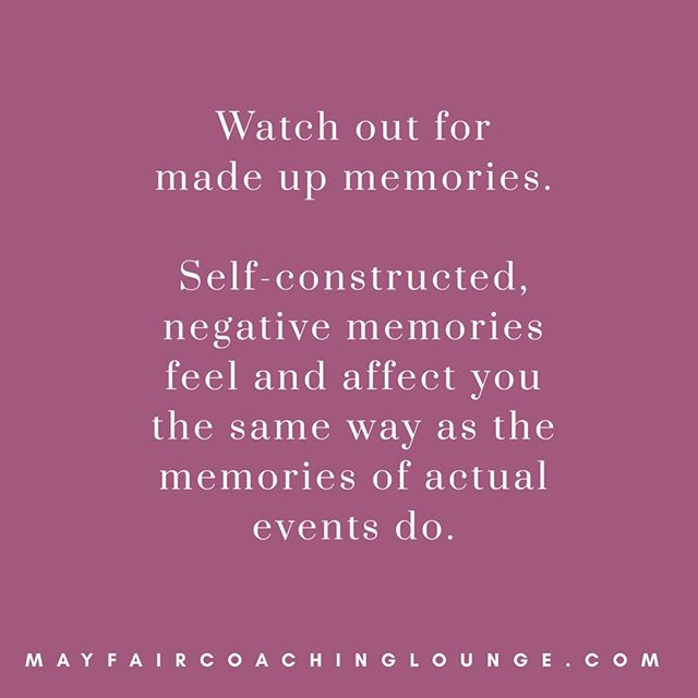 Watch out for made up memories. Self-constructed, negative memories feel and affect you the same way as memories of actual events do.  Tag a friend who really needs to see this message today 👇  #anxietycoach #socialanxiety #anxietysupport #anxietyproblems #anxietyattacks #anxietycoaching #nomoreanxiety #overcomeanxiety #mindsetiseverything #masteryoflove #masteryourmindset #masteryourmind #emotionalwellbeing #emotionalquotes #emotionalwellness #workplaceanxiety #sadness #impostersyndrome #coaching #mayfairlifecoach #depression #londonlifecoach #selflove #love #selfdevelopment #londongay #selfcare #mayfairlondon