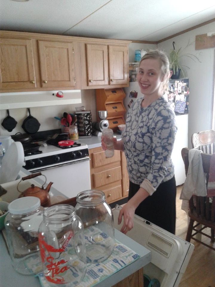 Allison tidying up the kitchen after breakfast, she's the best.