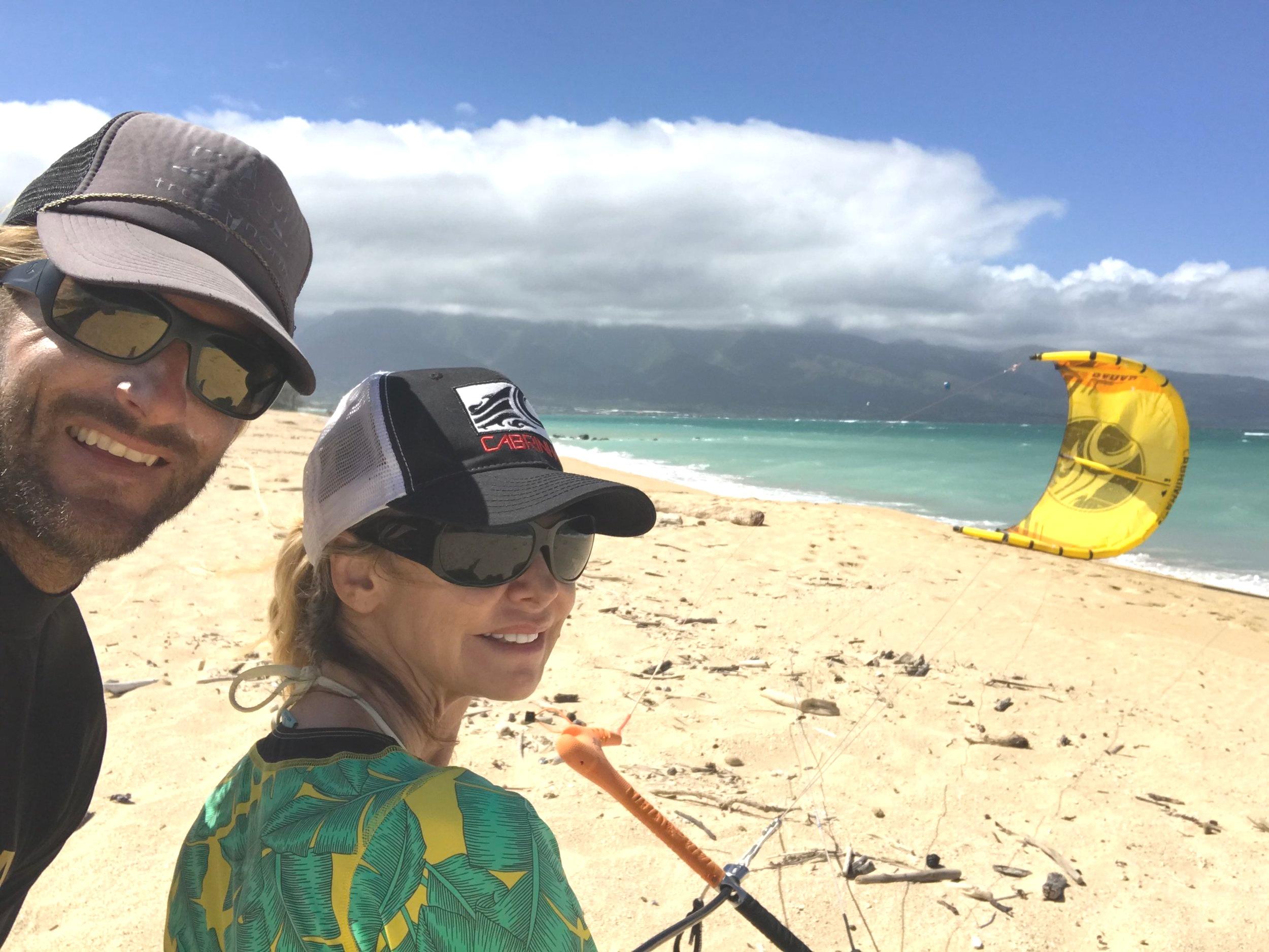 Lisa Cabrinha during her first kite lesson. (Pete Cabrinha's wife)