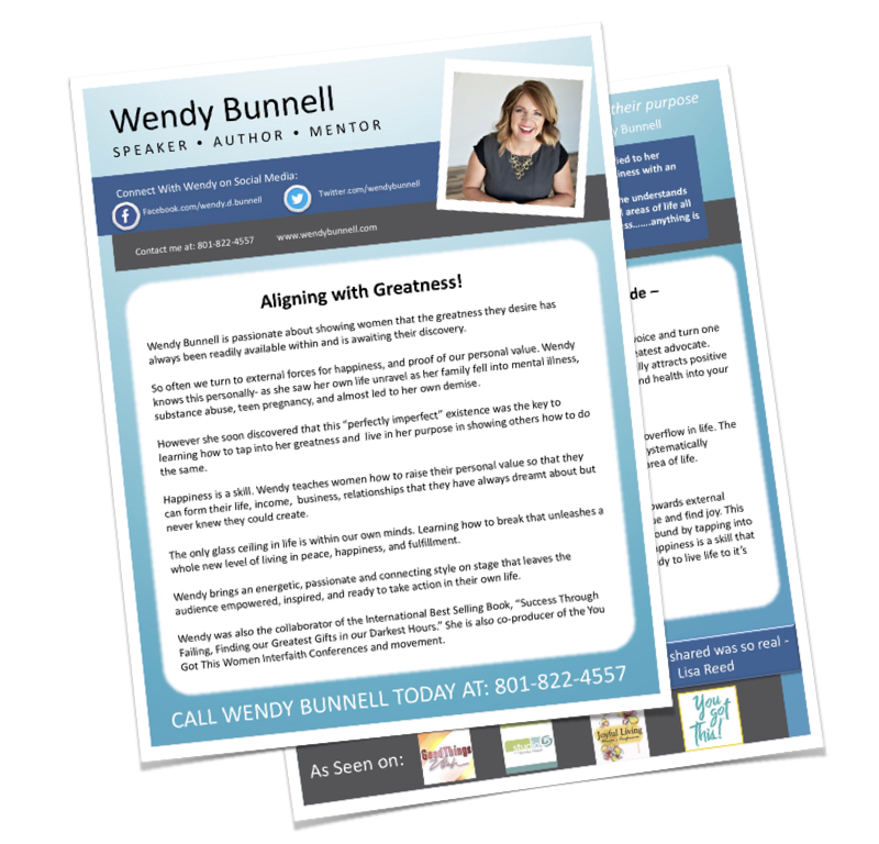 Wendy Bunnell - If you're looking for a speaker sheet and bio, you can click the button below to download a PDF of Wendy's message and keynote topics.
