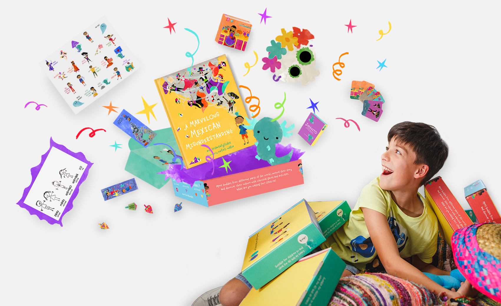 Mexico's story box - A box bursting with toys, games, activities and wonders. An out-of-this-box funtabulous gift for every little and the perfect introduction to the Mexican culture.
