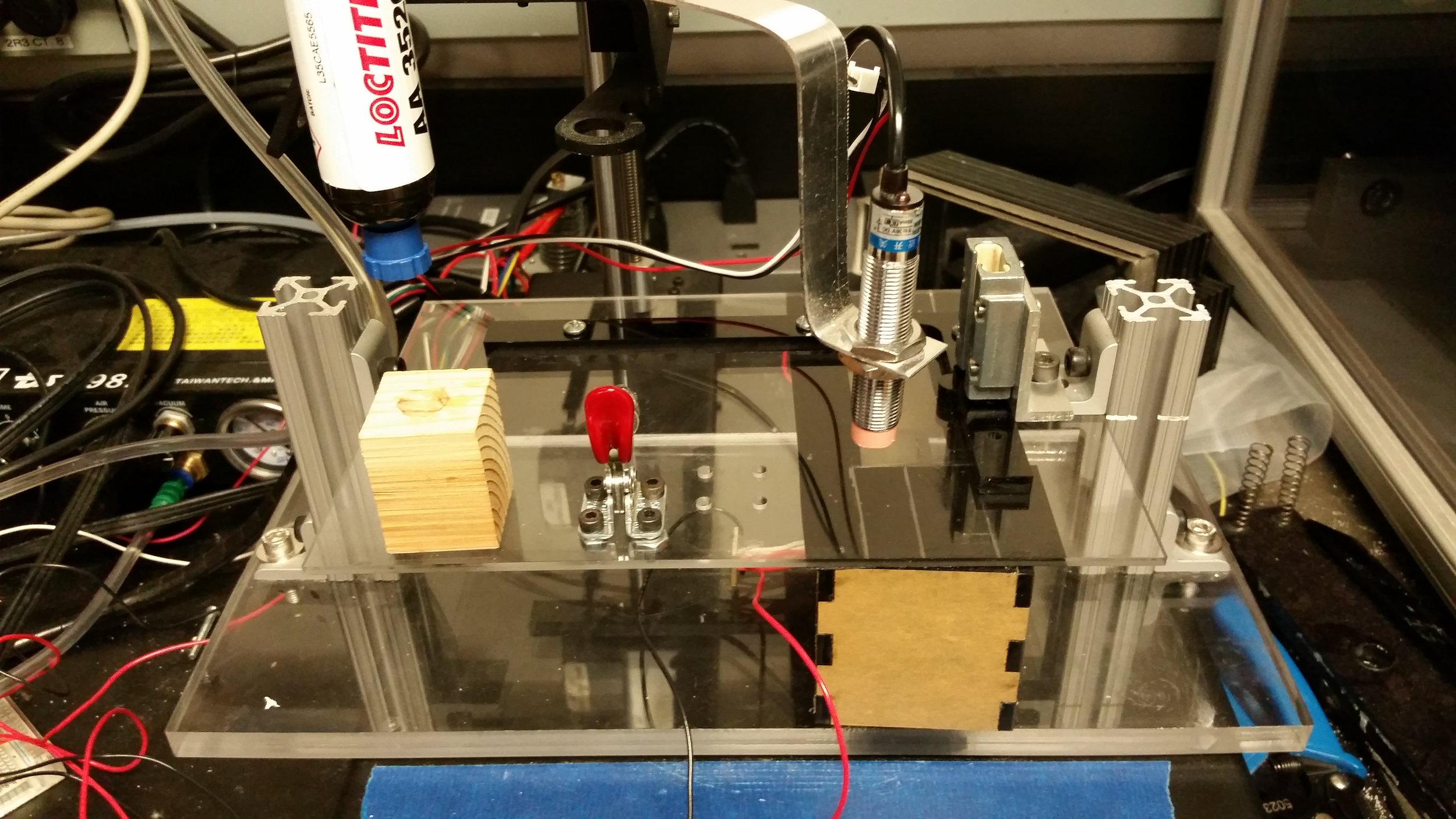 3D printer setup used to extrude UV curing glue to bind piezo to glass  in TPaD