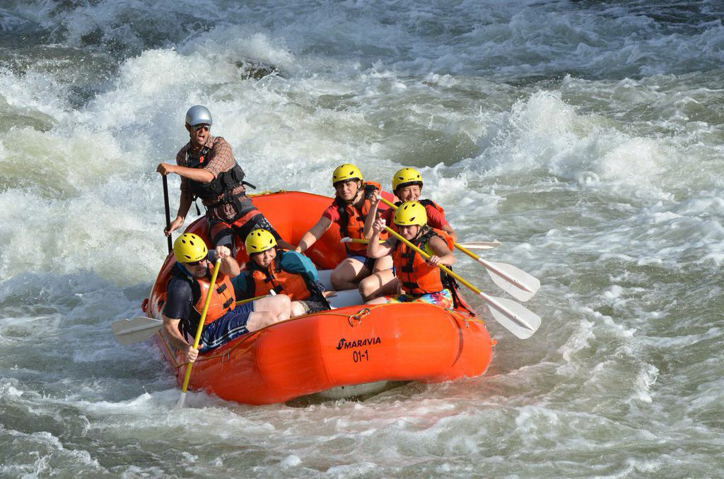Team whitewater rafting on the Snake River, Idaho. I'm on the right in the middle!