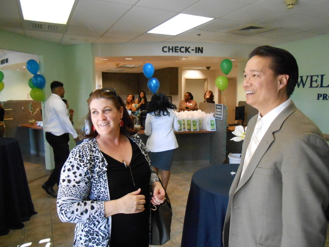 Psychiatrist Marian Orr talks with Well Care founder Marce Casal at the opening of the Well Care Services Center at Tropicana Avenue and Boulder Highway