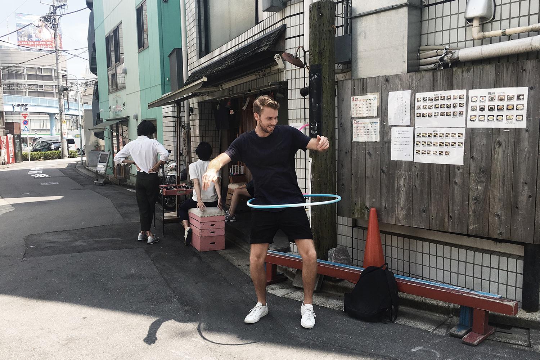 Tim outside the Menki Yashima, Tomigaya