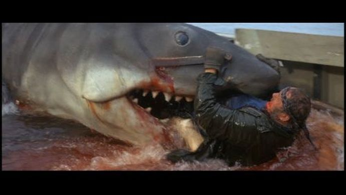 Quint stabs at the shark in one last attempt to fight off certain death