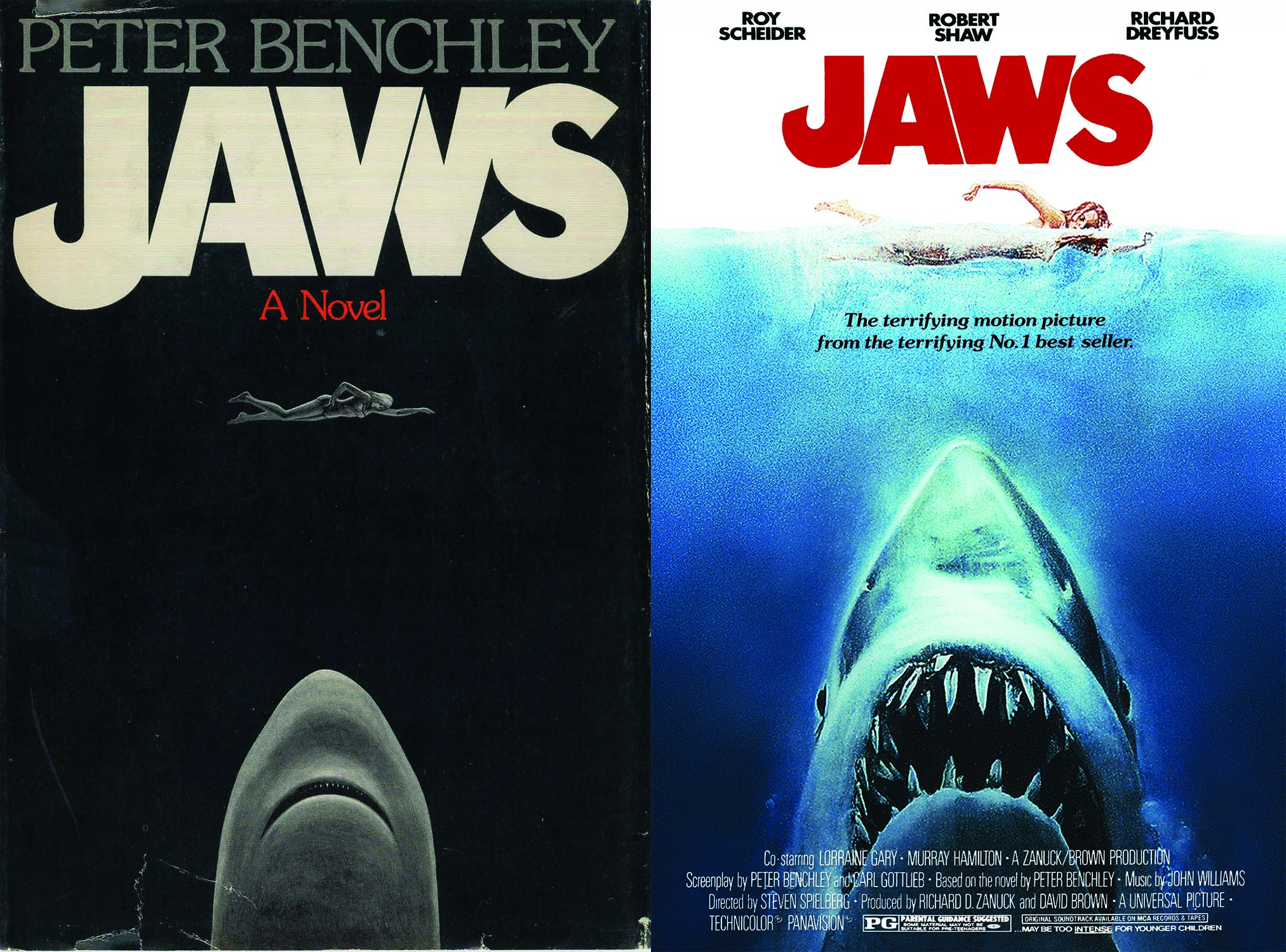 The original book cover (left) with the more recognisable Roger Kastel movie poster (right).