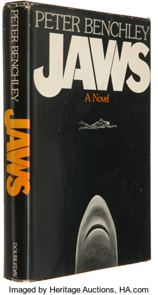 Picture of the 1974 first edition dust jacket for Jaws.
