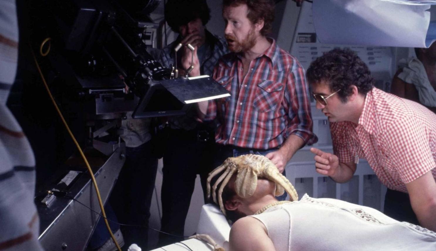 Director Ridley Scott on the set of Alien (1979)