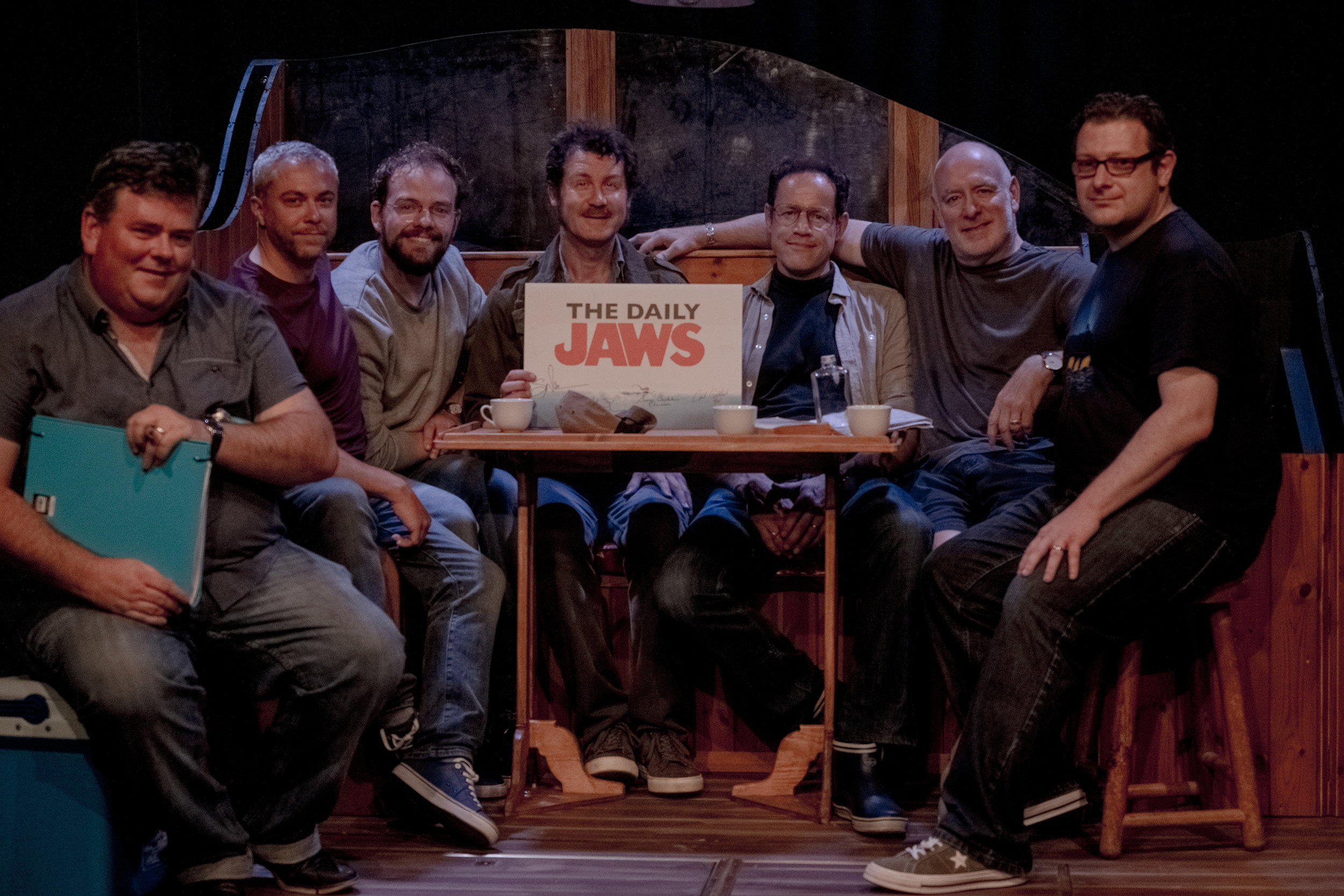 L-R Producer David Mounfield, TDJ creator Ross, actors Liam Murray Scott, ian Shaw and Duncan Henderson, Director Guy Masterson and TDJ chief writer Dean.