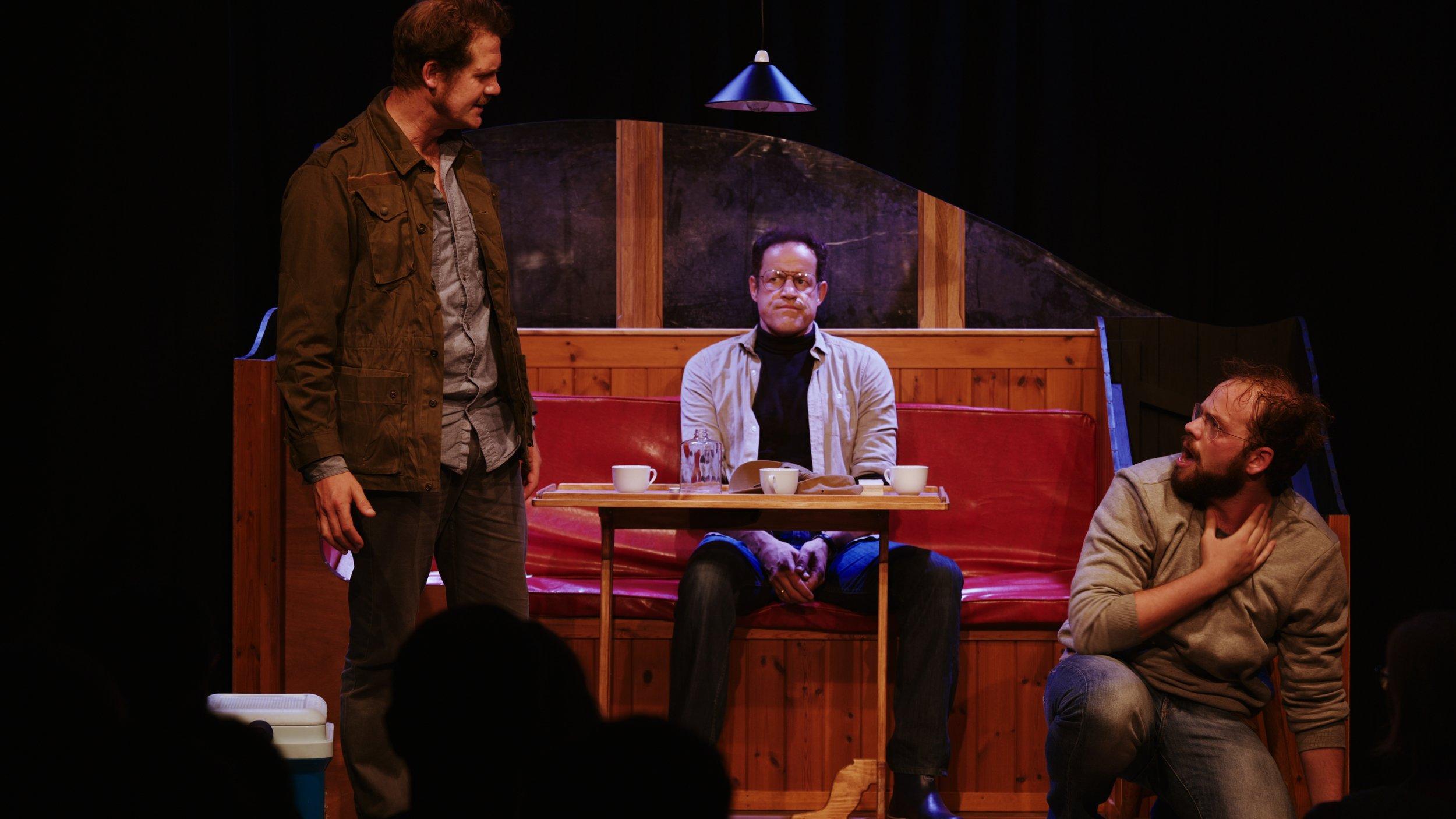 Ian Shaw's Robert intimidates a cowering Dreyfuss (Liam Murray Scott)