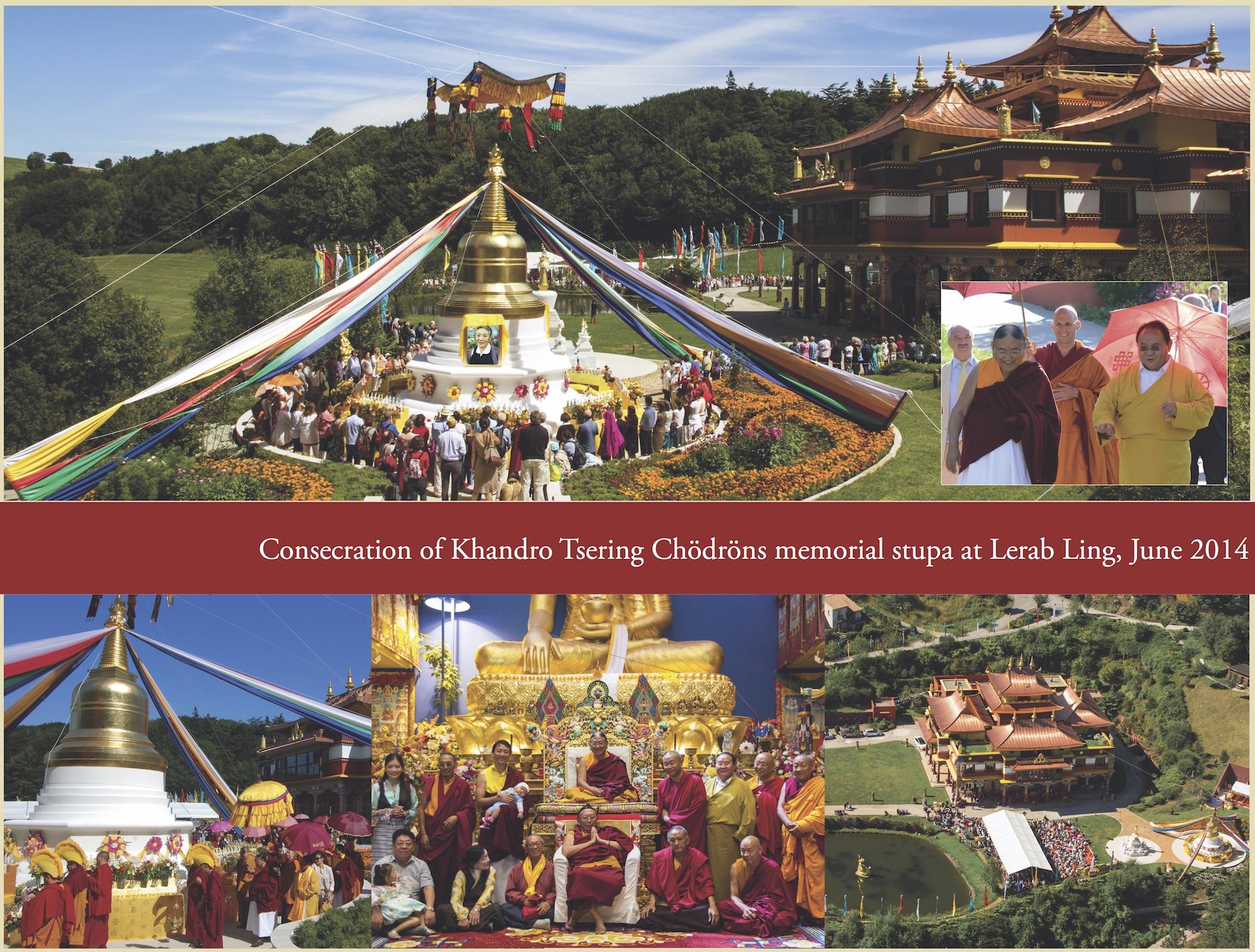 Consecration of Khandro Tsering Chödröns memorial stupa at Lerab Ling, June 2014