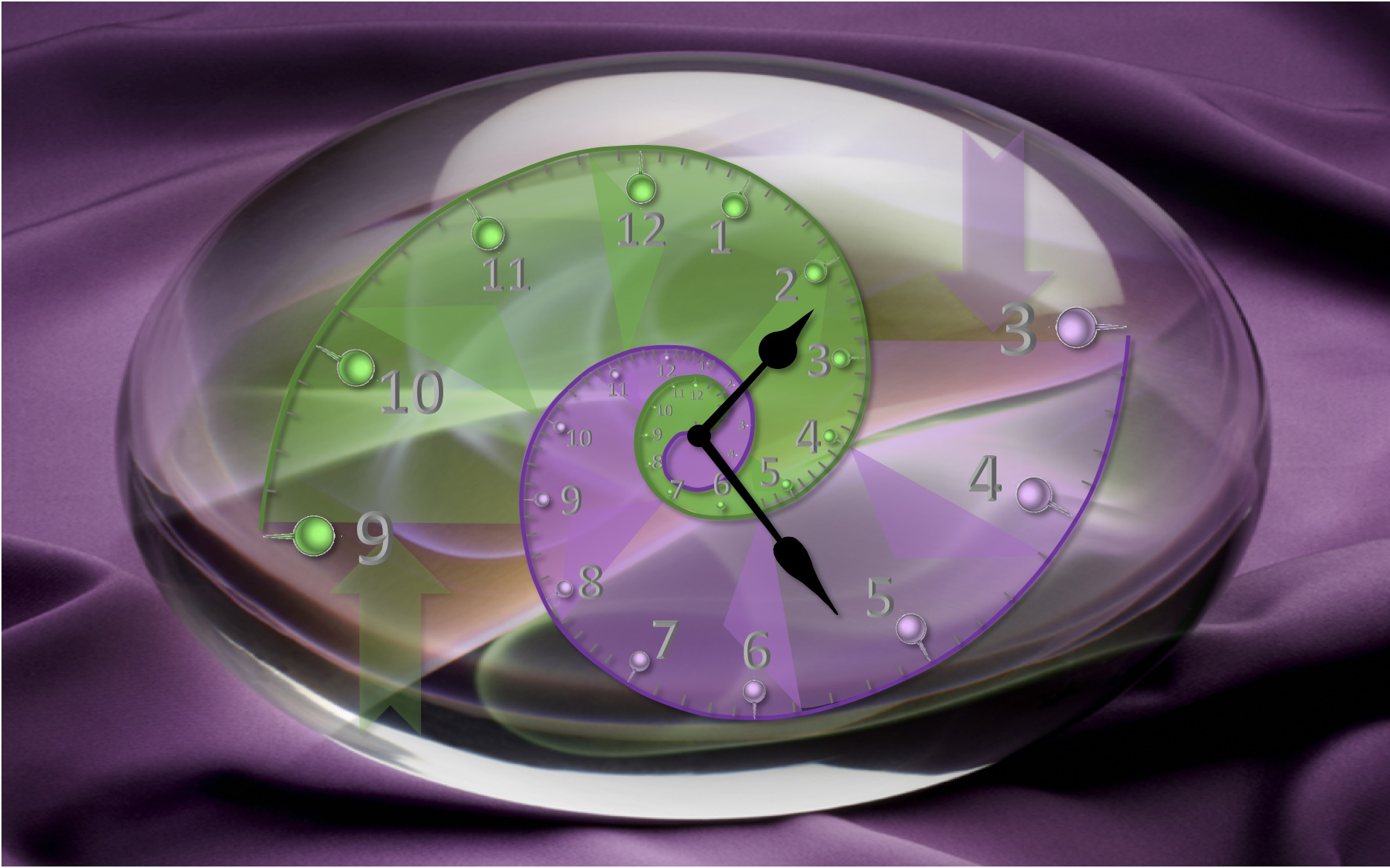 Fibonacci clock, showing how the mix of geo-technical (green) and geo-commercial (purple) experiences blend through career development to generate a more rounded explorationist