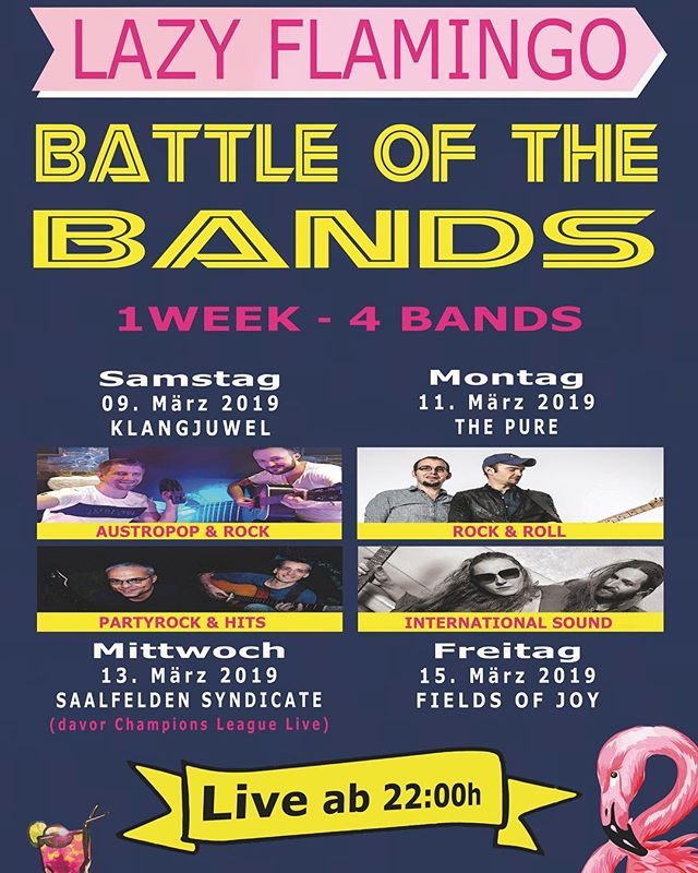 """BATTLE OF THE BANDS""  1 Woche - 4 Bands Wir starten HEUTE mit ""Klangjuwel"" - Austropop & Rock LIVE ab 22:00 Uhr! CU!"