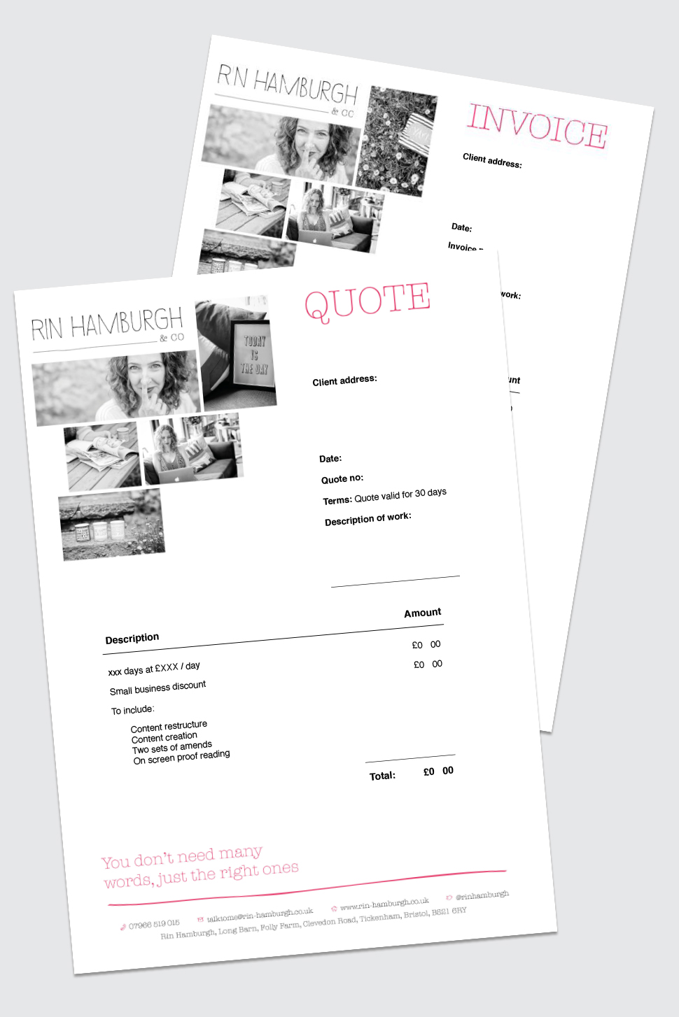 Invoice and quote template in Pages