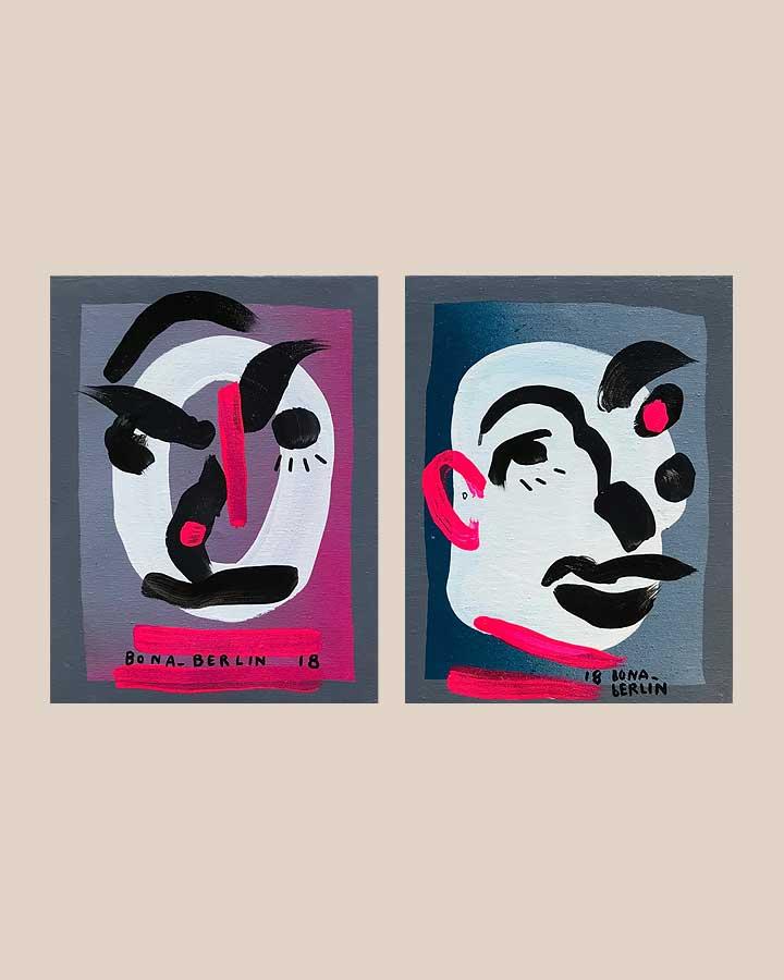 GREY HEADS Acryl und Markerauf Leinwand 2018 · ca. 21 x 15 cm   Preis auf Anfrage