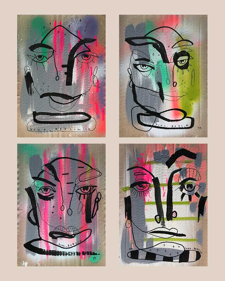 PAPPE 1 · PAPPE 2 PAPPE 3 · PAPPE 4 Acryl & Marker auf Pappe 2019 · 30 x 20 cm   Preis auf Anfrage