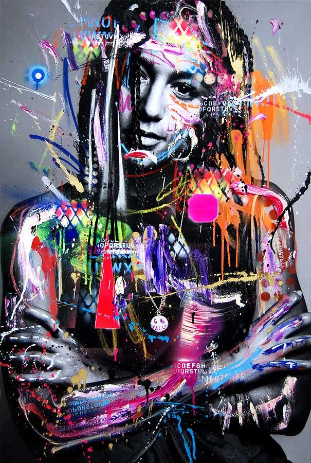 LARY POTTPERLE mixed media on canvas 2018 · 115 x 75 cm   Preis auf Anfrage