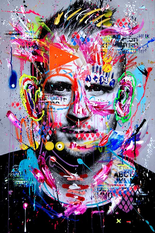 MARC JUNG ALPHADOGG mixed media on canvas 2018 · 115 x 75 cm   Preis auf Anfrage