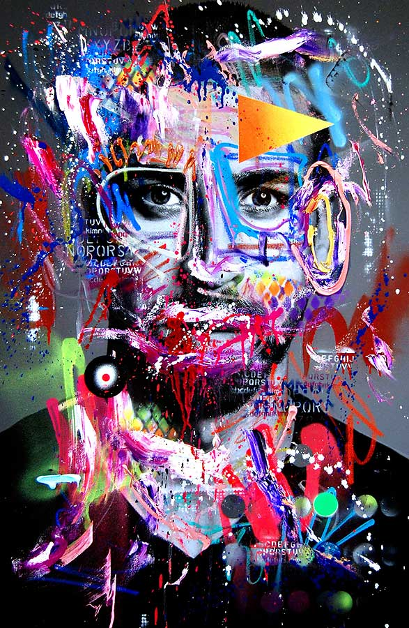 SAMI KHEDIRA BÜFFEL VON STUGGI mixed media on canvas 2018 · 115 x 75 cm   Preis auf Anfrage