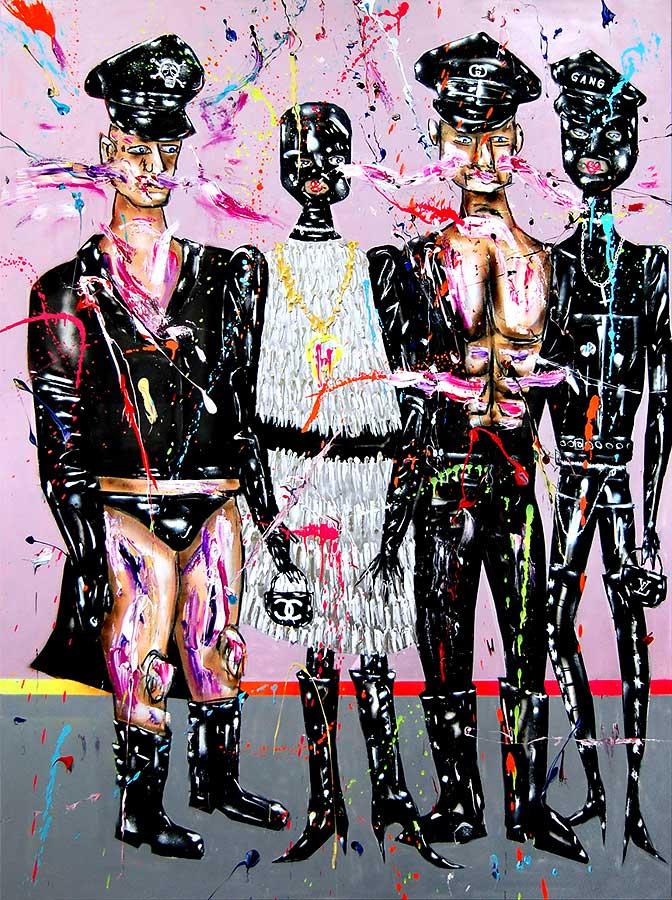 DIE WIRTSCHAFTSWEISEN mixed media on canvas 2018 · 200 x 150 cm   Preis auf Anfrage