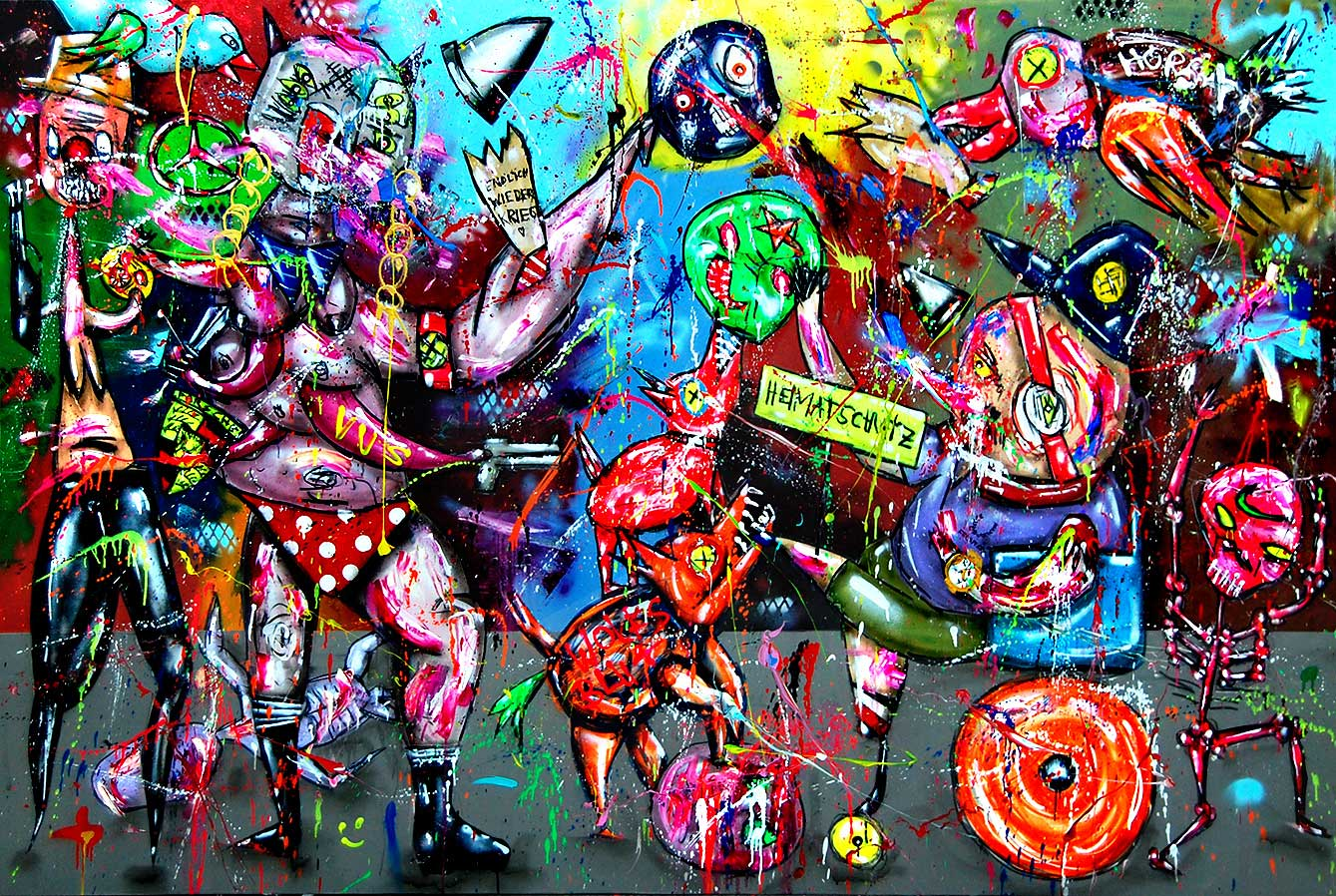 HEIMATSCHUTZMINISTERIUM mixed media on canvas 2018 · 200 x 300 cm