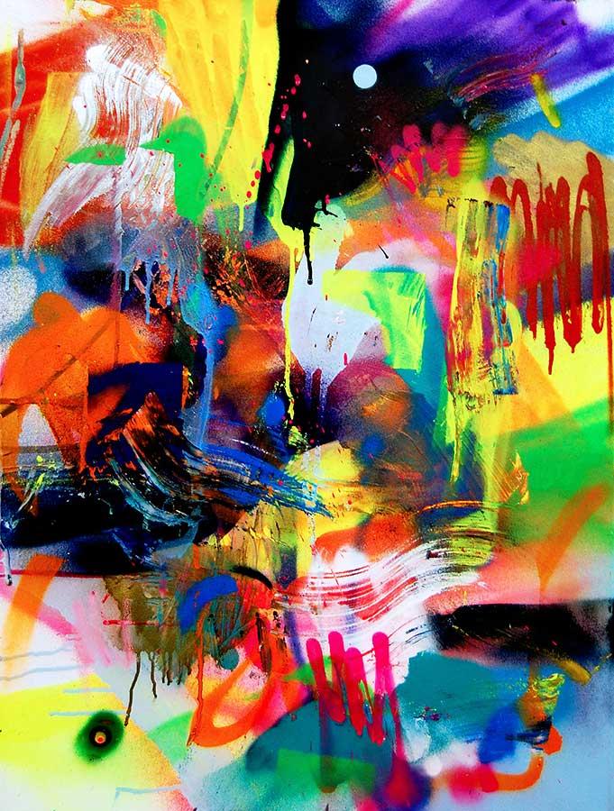 HORROR PIXELSHOW mixed media on canvas 2016 · 60 x 50 cm   Preis auf Anfrage