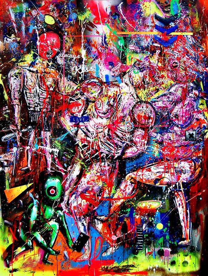 WIE JUDENSTERNE STARS IM GHETTO mixed media on canvas 2017 · 200 x 150 cm   Preis auf Anfrage