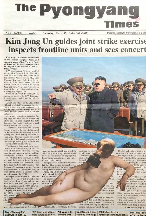 KIM JONG SPOON Collage auf nordkoreanischer Zeitung 2017 · 40 X 50 cm  Verkauft