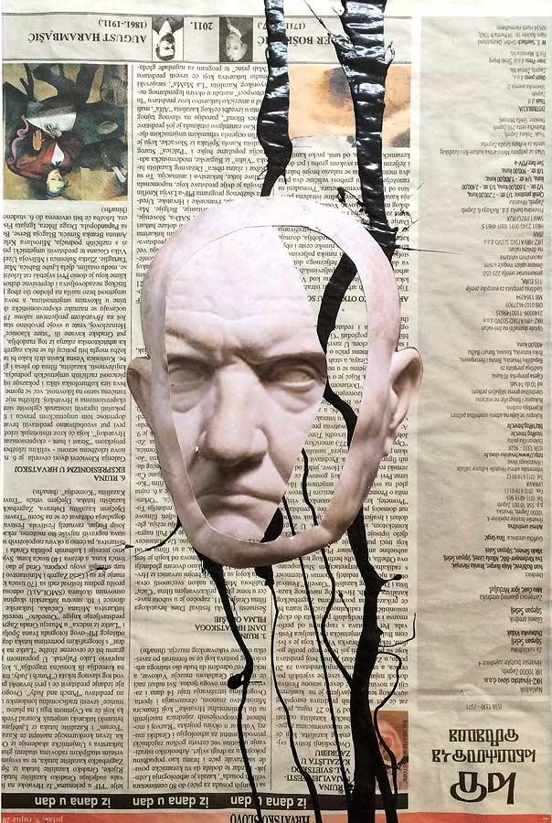 ROME Collage auf Zeitung 2017 · 40 X 50 cm  Verkauft