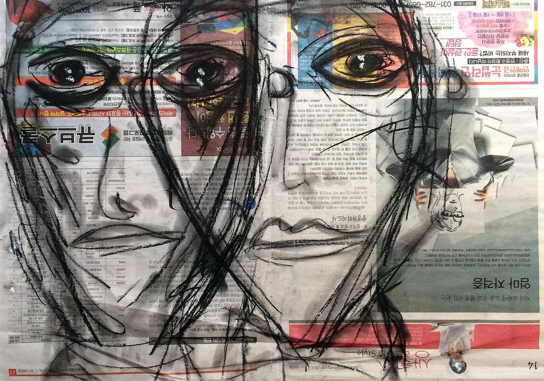 POLYCEPHALY Kohle auf Zeitung 2017 · 50 X 70 cm  Verkauft