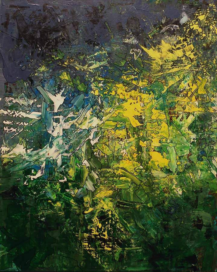FREQUENZORGIE Acryl auf Leinwand 2018 · 80 x 100 cm   Preis auf Anfrage