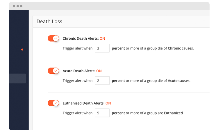 """Manage Death Loss from the Admin panel under """"Health Variables"""" tab."""