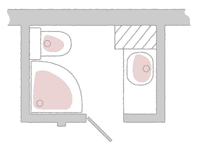 пример расстановки сантехприборов после сноса стены